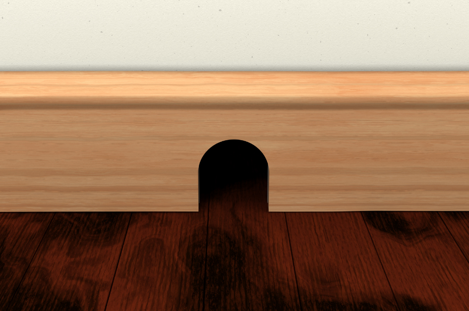 baseboard with a hole for a mouse to go through